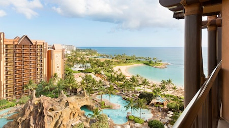 A balcony overlooking the pools and beach at Aulani, Disney Vacation Club Villas, Ko Olina, Hawaii