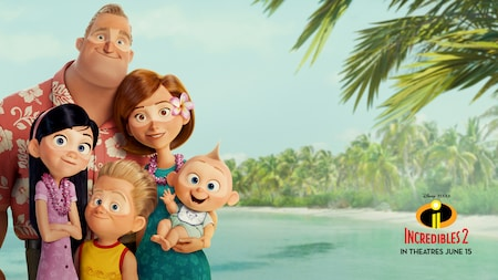 Mr. Incredible, Elastigirl and their children on vacation in a tropical destination
