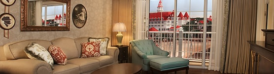 The living area in a One-Bedroom Villa at The Villas at Disney's Grand Floridian Resort & Spa