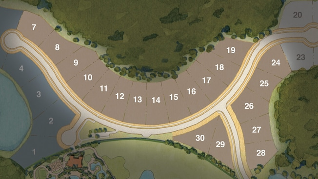 Map showing 18 homesites for the Gardenside Collection at Four Seasons Private Residences Orlando