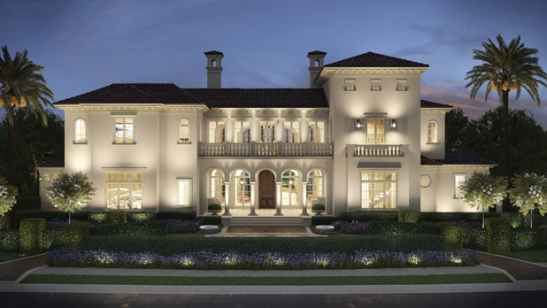 An artist rendering of a 2-story Italianate home and landscaped front yard, illuminated at night
