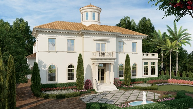 An artist rendering of an Italianate-style home amid a lush, landscaped yard