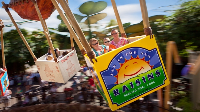 Sun Raisins Serving Size 1 Box is printed on a food carton that Guests ride on Flik's Flyers