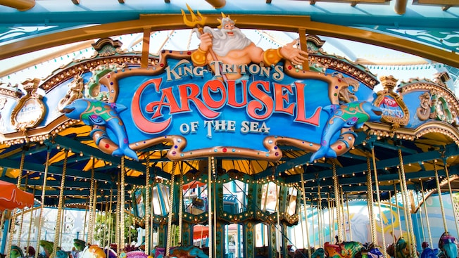 Sign for King Triton's Carousel of the Sea, a Disney California Adventure attraction