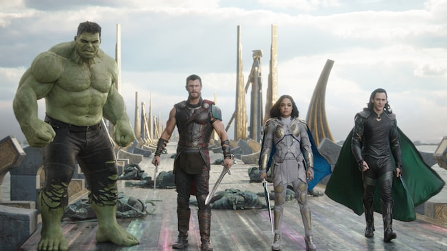 Ready for battle, the Hulk, Thor, Sif and Loki stand together during a face off with Hela