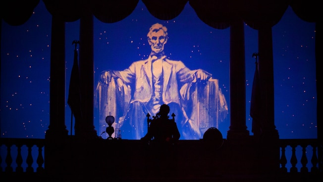 A still from the film that starts the Disneyland Story presenting Great Moments with Mr. Lincoln
