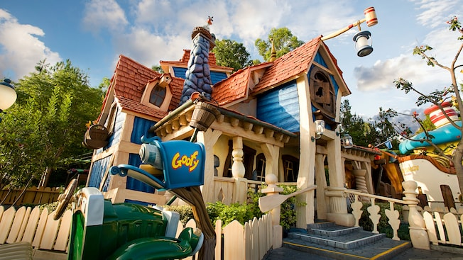The exterior of Goofy's Playhouse, a Disneyland attraction, in Mickey's Toontown