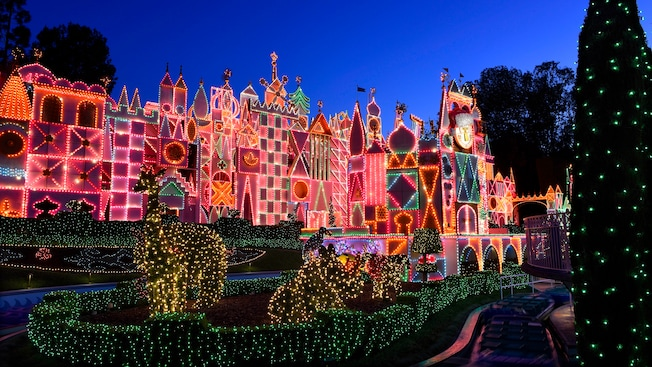The It's a small world attraction at Disneyland park decorated for the holidays