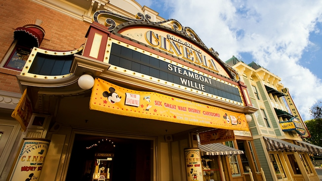 Main Street Cinema marquee: Now Showing Steamboat Willie and Six Great Walt Disney Cartoons!