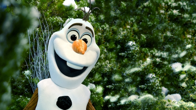 Olaf smiling in front of snow-covered trees at Disney California Adventure Park