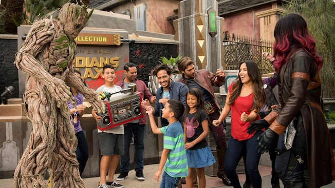 Guest at the Guardians of the Galaxy Awesome dance Off at Disney California Adventure