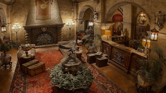 The lobby of the Hollywood Tower Hotel, home to The Twilight Zone Tower of Terror