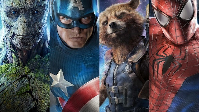 The faces of Groot, Captain America, Rocket Raccoon and Spider-Man