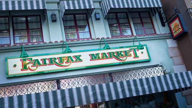 Fairfax Market sign at Disney California Adventure Park