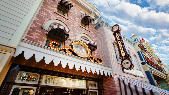 Ice cream sundaes sign at the Gibson Girl Ice Cream Parlor on Main Street, U.S.A. in Disneyland Park