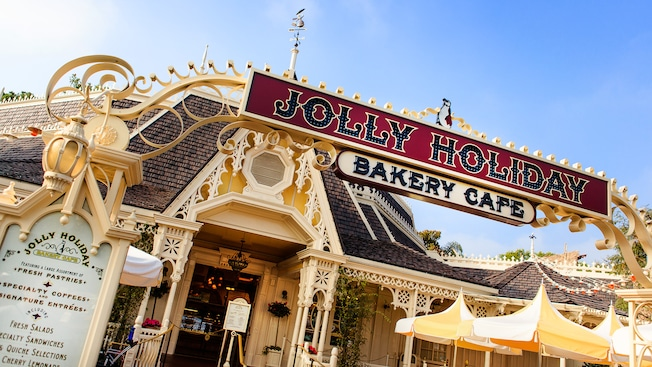 Entrance sign for Jolly Holiday Bakery Cafe at Disneyland Park