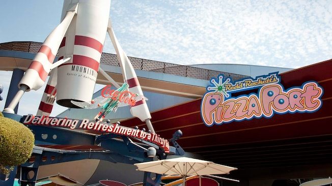 Redd Rockett's Pizza Port sign in Tomorrowland at Disneyland Park