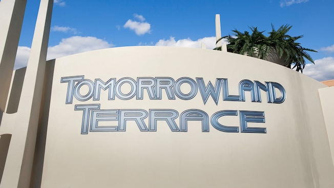 Entrance sign for Tomorrowland Terrace at Disneyland Park
