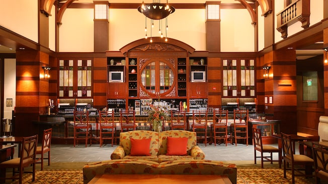 Cozy couch at Hearthstone Lounge in Disney's Grand Californian Hotel & Spa