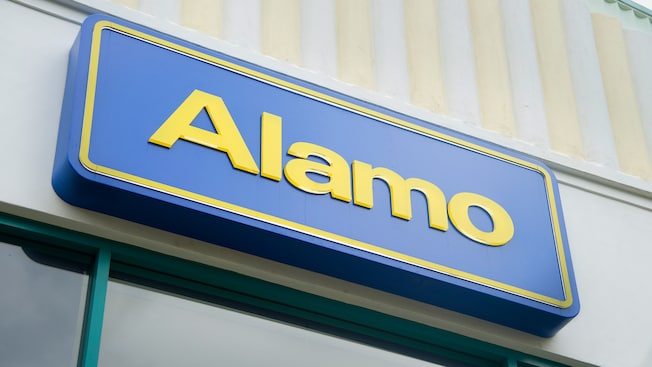 Sign for Alamo at the Disneyland Resort Downtown Disney car rental location
