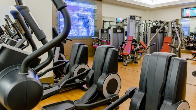 An assortment of exercise machines located within a lively fitness center at the Disneyland Resort