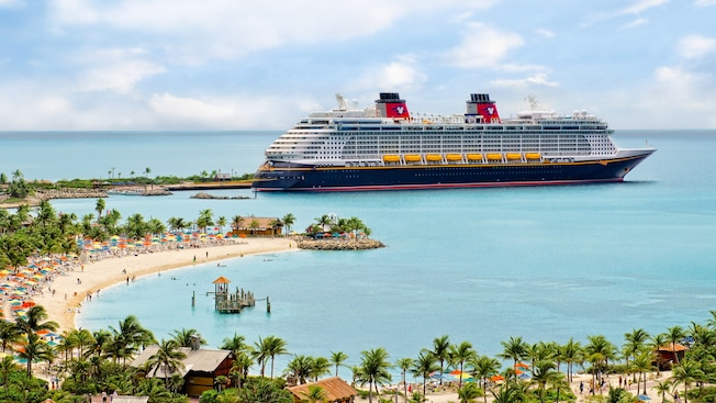A Disney Cruise Line ship docked at Castaway Cay