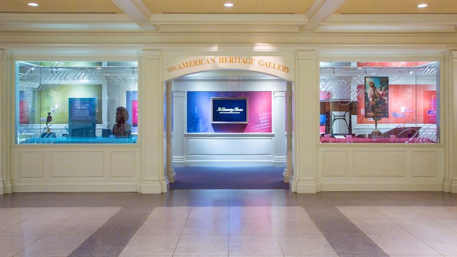 Entrance to The American Heritage Gallery at Epcot flanked by windows