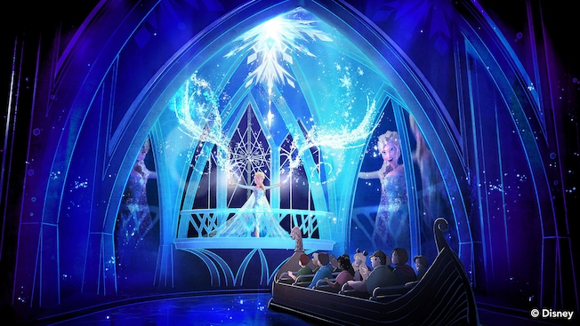 Interpretación artística de la atracción Frozen Ever After en Epcot