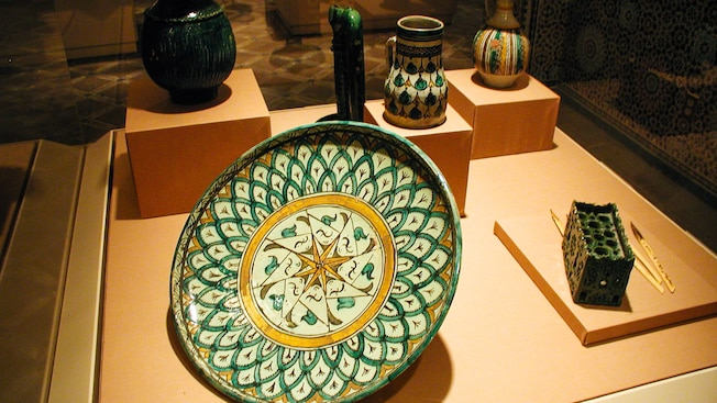 Hand-painted Moroccan folk art at Gallery of Arts and History in the Morocco Pavilion