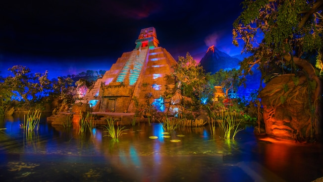 A Mayan pyramid at the start of the Gran Fiesta Tour Starring the Three Caballeros ride