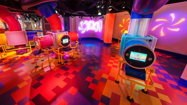 "Play area at ImageWorks - The ""What If"" Labs, with touchscreens to make your own Figment"