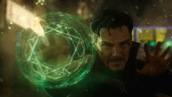 Benedict Cumberbatch stars as the Marvel superhero Doctor Stephen Strange, complete with a glowing fractal projecting from his hand