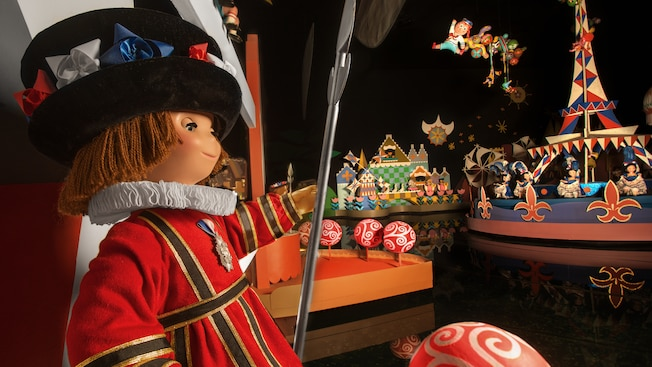 "An English beefeater royal guard doll at the ""it's a small world"" attraction"