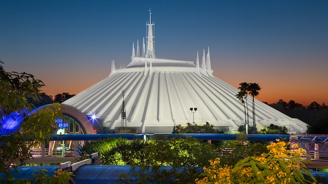 Dawn over the building that houses Space Mountain