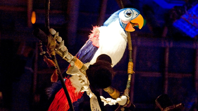 Audio-Animatronics figure of a singing parrot named Pierre at Walt Disney's Enchanted Tiki Room