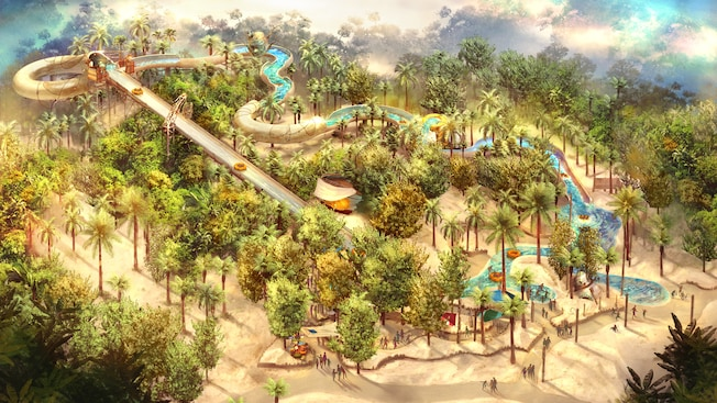 An illustrated rendition of the Miss Adventure Falls attraction at Disney's Typhoon Lagoon water park