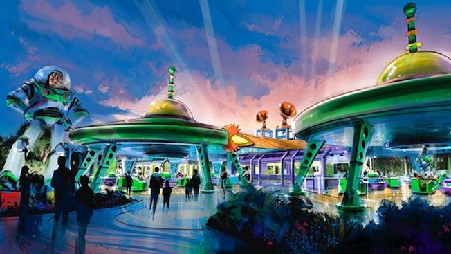 Ilustração conceitual da Toy Story Land, com um boneco gigante do Buzz Lightyear e a atração giratória Alien Swirling Saucers, sob 2estruturas em formato de discos voadores em estilo retrô