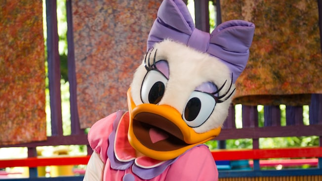 Daisy Duck gives a coy look