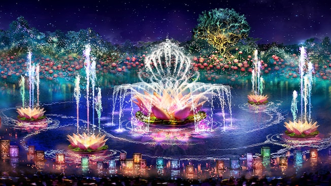 A colorful array of fountains shaped like lotus flowers, shooting water in stylish formations