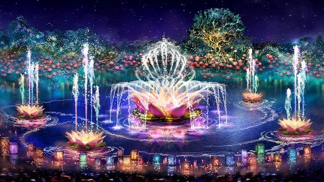 Diversas fontes coloridas no formato de flores de lótus criam desenhos com a água