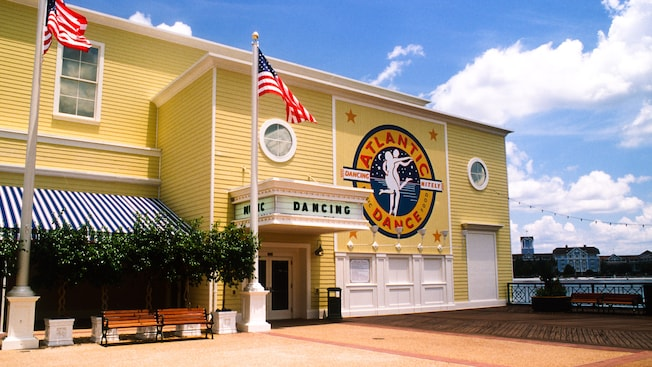 Cheerful yellow exterior of the Atlantic Dance Hall