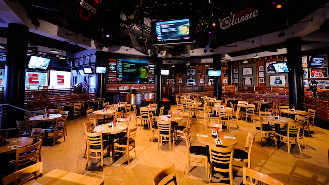 A roomful of TV monitors tuned to sports of all kinds at ESPN Club