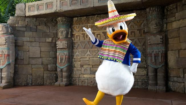 El pato Donald, con sombrero, realiza un baile mexicano en Conoce al pato Donald en México, en Epcot