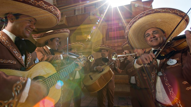 Mariachi Cobre, a Mexican band, playing on the steps of the Mexico Pavilion