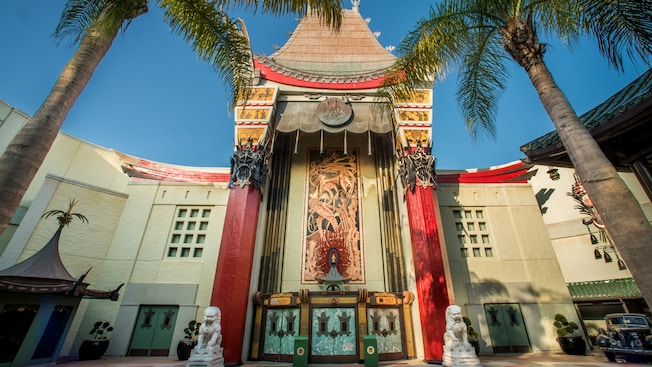 The front of a movie theater in Disney's Hollywood Studios with an exotic Chinese design