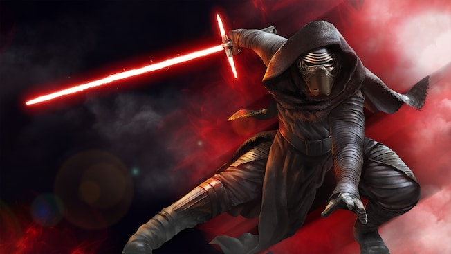 Kylo Ren crouches to fight, readying his lightsaber for action