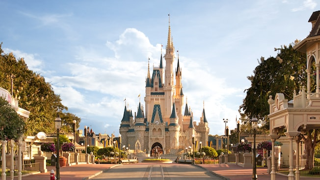 The exterior of Cinderella Castle at Magic Kingdom park on a sunny day