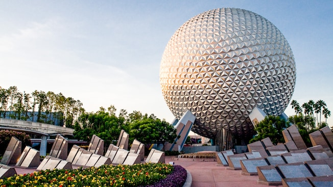 Dozens of polished granite monoliths behind Spaceship Earth in The UnDISCOVERed Future World area at Epcot theme park