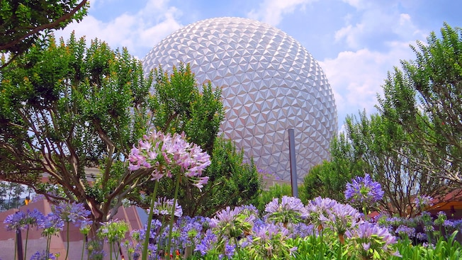 Spaceship Earth ascends into the sky while surrounded by flowers and lush greenery at Epcot