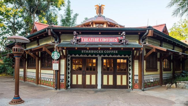 Africa-themed exterior of Creature Comforts, a new Starbucks Coffee location in Discovery Island